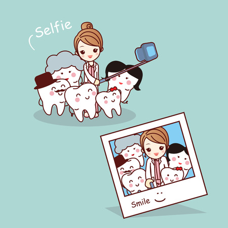 Happy cartoon tooth family take selfie with dentist, great for health dental care concept
