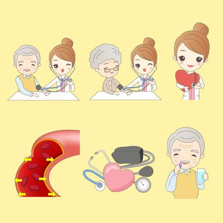 cartoon old people do blood pressure,great for your design Vektoros illusztráció