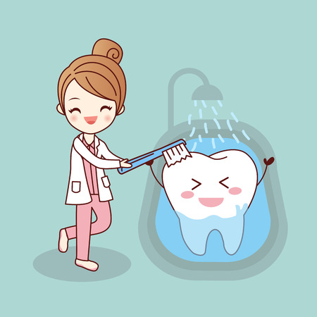 bath treatment: beauty cartoon dentist  is brush tooth, great for health dental care concept