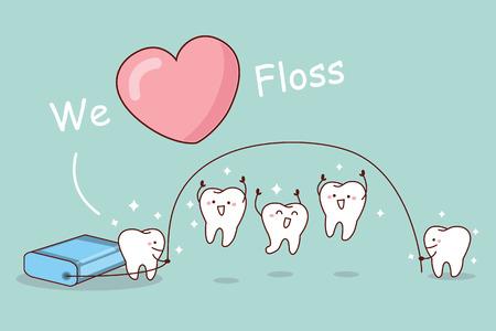 deportes caricatura: Nos encanta la seda - diente de la historieta con hilo dental, gran concepto de cuidado dental