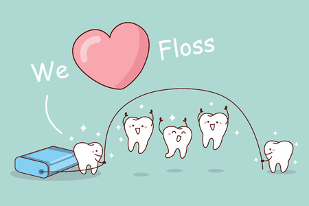 skip: We love floss - cartoon tooth with floss, great for dental care concept Illustration