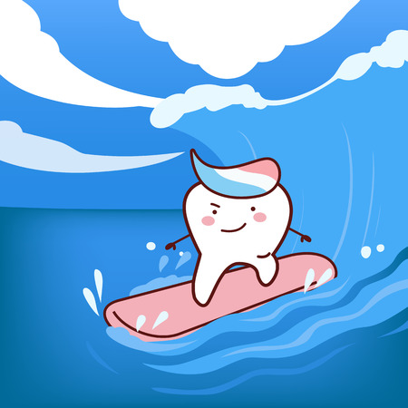 cartoon teeth surfing, great for dental care concept