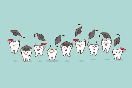dessin animé heureux dent diplômé sauter et courir, idéal pour le concept de soins dentaires de santé Vecteurs