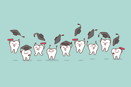 Happy cartoon graduate tooth jump and run, great for health dental care concept