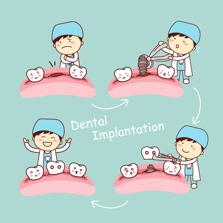 cute cartoon tooth implant treatment with dentist, great for health dental care concept