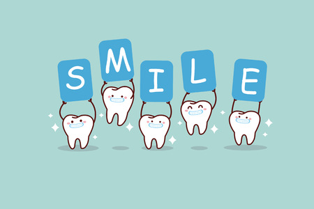 cartoon white tooth smiling and holding billboards, great for dental care concept