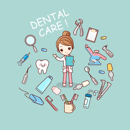 simpatico cartone animato medico dentista con strumenti dentista, grande per dentale concetto di assistenza sanitaria