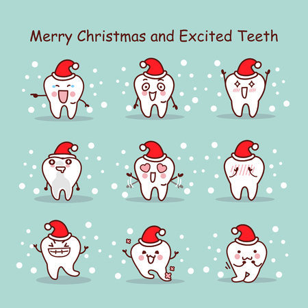 dental health: merry christmas and excited teeth, great for your design Illustration