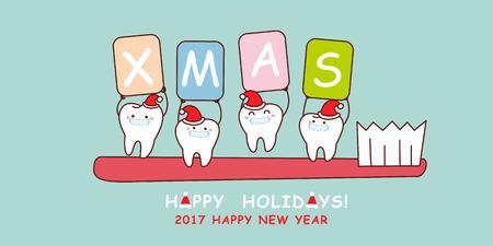 Mignon dessin animé dent avec brosse à dents, idéal pour la santé concept dentaire