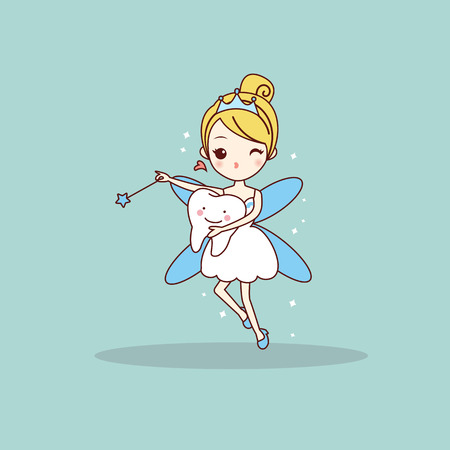 cartoon  tooth with tooth fairy and magic wand, great for dental care concept 矢量图像