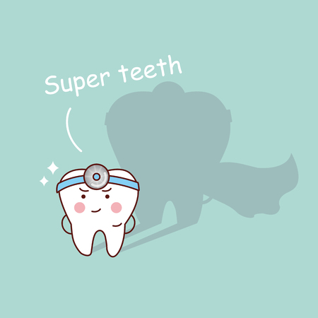 Super health cartoon tooth and dentist smiling