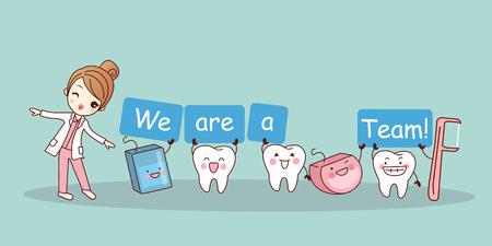 우리는 팀입니다 - 치실과 치실 선택, 건강 치과 치료 개념에 좋은 귀여운 만화 치아