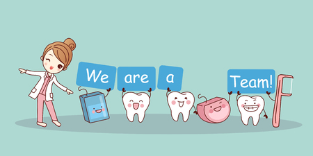 Nous sommes une équipe - une mignonne dent de dessin animé avec de la soie et de la broche dentaire, idéale pour le concept de soins dentaires en santé