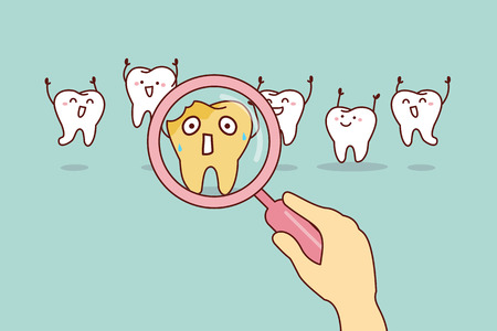 cartoon decay tooth with magnifying glass, great for health dental care concept