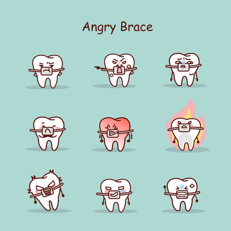 angry cartoon tooth wear brace with various expressions