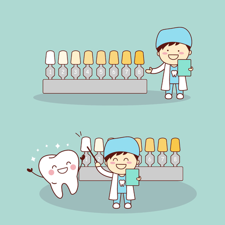 bleaching: Happy cartoon tooth and dentist with whitening and bleaching tool, great for dental care and teeth whitening and bleaching concept