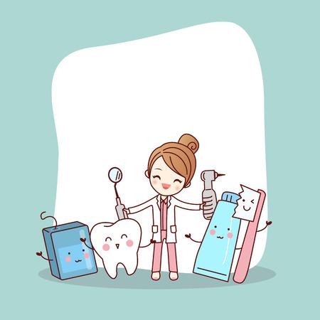 Ami de dent de dessin animé heureux avec médecin dentiste et panneau d'affichage vide, idéal pour le concept de soins dentaires de santé Vecteurs
