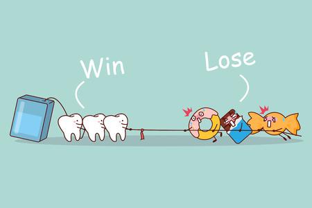 Cartoon Zahn und Zahnseide linear Tauziehen mit süßen Speisen, ideal für die Zahnpflege-Konzept