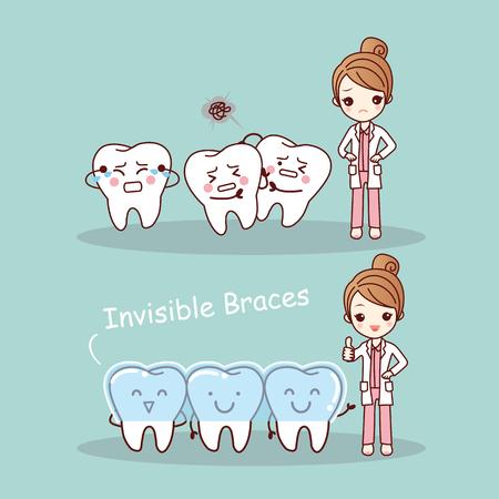 건강 치과 치료 개념에 대한 좋은 치과 의사와 귀여운 만화 치아 보이지 않는 중괄호,