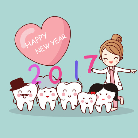 Happy new year and cute cartoon dentist with cartoon tooth family