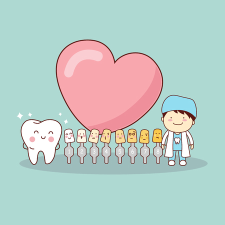 Happy cartoon tooth and dentist with love heart and whitening and bleaching tool, great for dental care and teeth whitening and bleaching concept