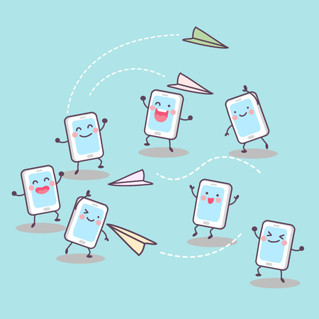 send: Scoial media concept - cute cartoon cellphone playing paper airplane and send message to each other