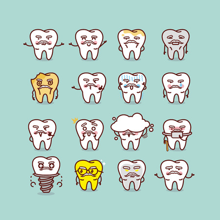 cute cartoon senior healthy and decayed tooth with various expresstion, great for health dental care concept