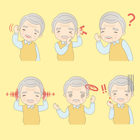 hearing protection: Old Man has ear problems , great for your concept Illustration