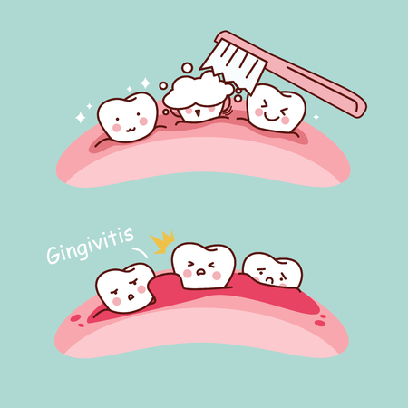 cartoon tooth brush and gingivitis, great for health dental care concept
