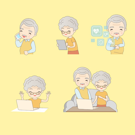woman cellphone: cartoon old couple use technology products and smile to you
