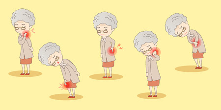 lumbago: cartoon old woman have body aches, great for your design