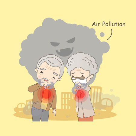 cartoon old couple with air pollution, great for your design Illustration