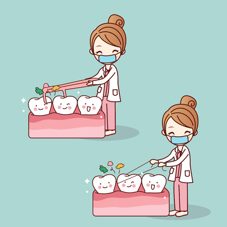 cartoon doctor or dentist use floss clean teeth, great for dental care concept