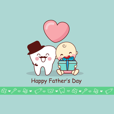 Happy Father Day with cartoon teeth and baby, great for dental care concept