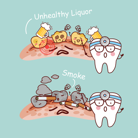 cartoon tooth and dentist and black or yellow tooth with beer and smoke Illustration