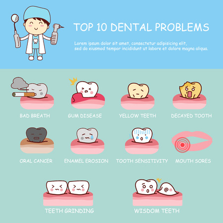Dental health care infographic - top ten dental problems , great for dental care concept Vectores