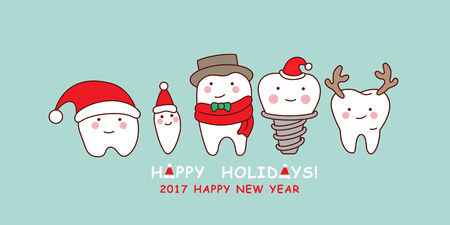 happy cute cartoon tooth ,great for celebrate Christmas