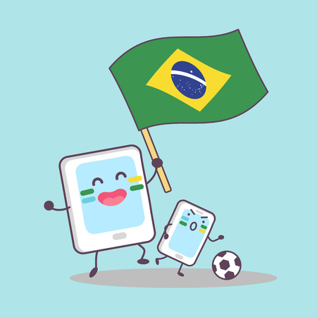 brasilia: Brazil flag with cellphone and digital tablet pc, great for your design