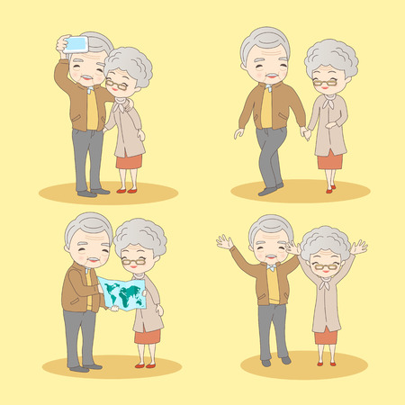 retire: happy cartoon old couple with thier lifestyle