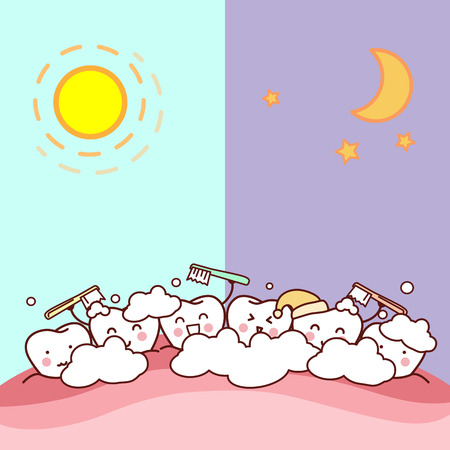 sick bed: cute cartoon tooth brush day and night, great for health dental care concept