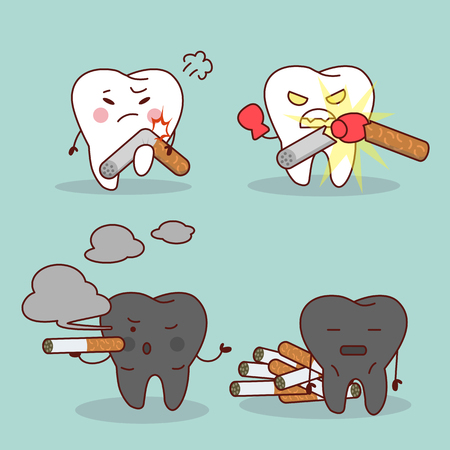 Smoking cartoon tooth and health teeth, great for health dental care concept