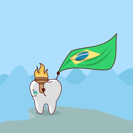 montañas caricatura: diente de dibujos animados con bandera de brasil, ideal para el concepto de cuidado dental