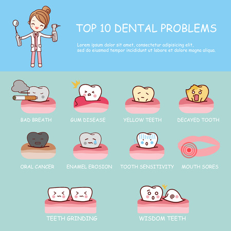 woman dental health care infographic - top ten dental problems , great for dental care concept 일러스트