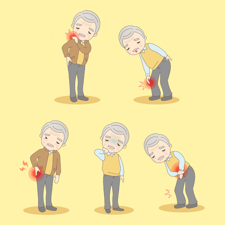 cartoon old man have body aches, great for your design Çizim
