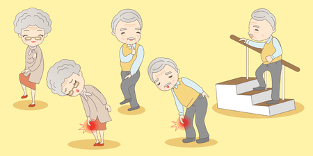 hugging knees: old couple have knee problem, great for your design Illustration