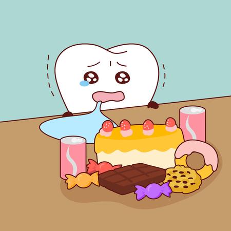 Schattige cartoontanden huilen met het dessert