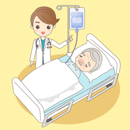 cartoon doctor with old man in hospital