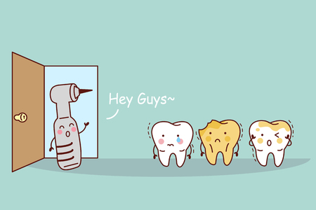 cartoon tooth with dental equipment, great for health dental care concept Vectores