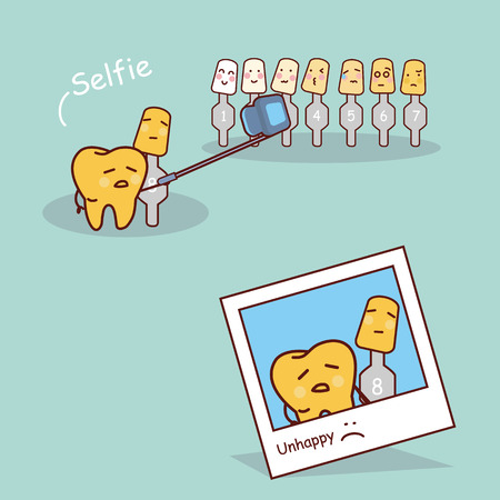 unhappy yellow cartoon tooth with whitening and bleaching tool take selfie together, great for dental care and teeth whitening and bleaching concept