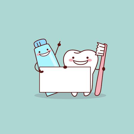 schattige cartoon tand, tandpasta en tandenborstel met billboard, geweldig voor gezondheid tandheelkundige zorg concept